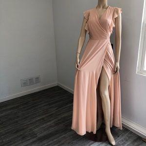 LULU'S maxi V-neck wrap dress short sleeve peach